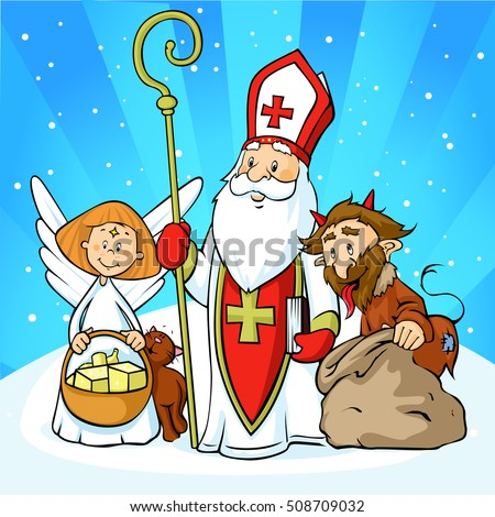 Saint Nicholas, devil and angel - vector illustration  with blue sky .During the Christmas season they are warning and punishing bad children and give gifts to good children.