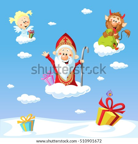 Saint Nicholas, devil and angel - vector illustration with blue sky .During the Christmas season they are warning and punishing bad children and giving gifts to good children.