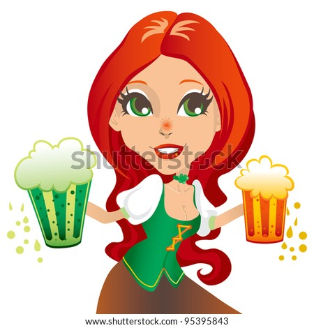 Saint Patrick day sexy red haired waitress smiling with two mugs of beer, one green and one gold