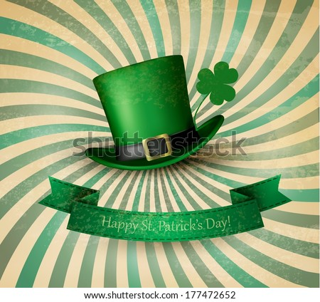 Saint Patrick's Day card with clove leaf and green hat. Vector illustration.  - stock vector