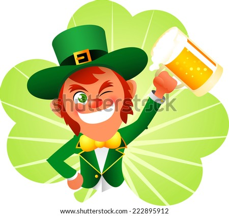 Saint patrick�´s Day cartoon elf cheering with beers - stock vector