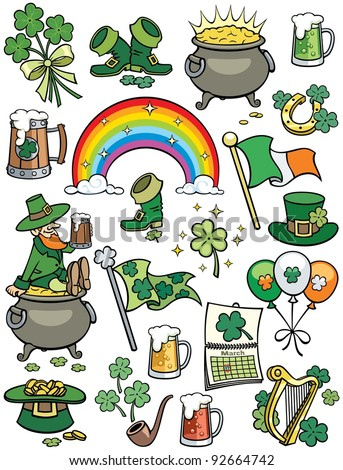 Saint Patrick's Day Elements: Set of 20 design elements on Saint Patrick's Day theme.  No transparency and gradients used. - stock vector