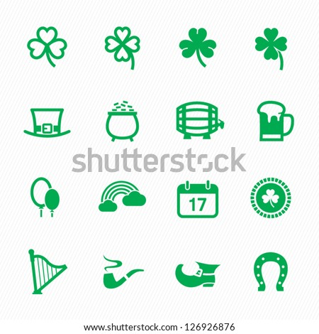 "Saint Patrick""s Day Icons with White Background - stock vector"