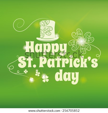 Saint Patrick's Day lettering on blurry background. Vector illustration. Editable. - stock vector