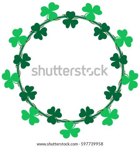 saint day wreath frame border green stock vector 597739958 rh shutterstock com shamrock border clip art