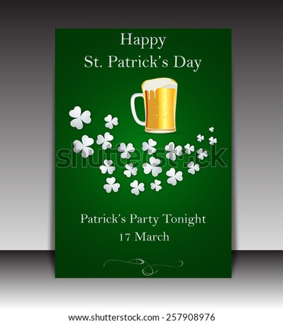 Saint Patricks Day Party Poster - stock vector