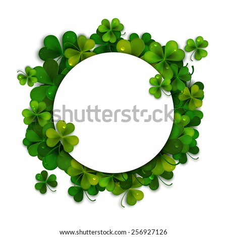 Saint Patricks Day vector background, frame with realistic shamrock leaves - stock vector