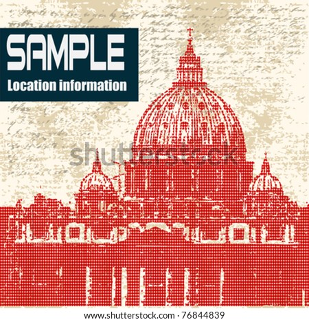 Saint Peters, Vatican City, Rome, Italy, Vector Grunge Background