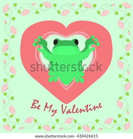 saint valentines day card frog inside stock vector 430426615 rh shutterstock com Frog Prince Cute Frog Silhouette