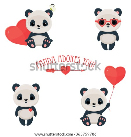 "Saint Valentine's Day cute web icons. Panda in love. Cute asian bear, arrow and heart. Text ""Panda adores you"". Eps 10"