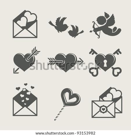 saint valentine's day set icon vector illustration - stock vector
