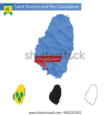 Saint Vincent and the Grenadines blue Low Poly map with capital Kingstown, versions with flag, black and outline. Vector Illustration. - stock vector