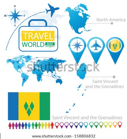 Saint Vincent and the Grenadines. flag. North america. World Map. Travel vector Illustration. - stock vector