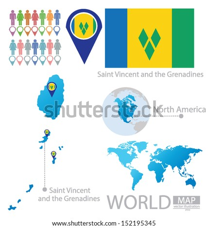 Saint Vincent Grenadines Flag North America Stock Vector 152195345