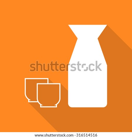 Sake icon with long shadow. - stock vector