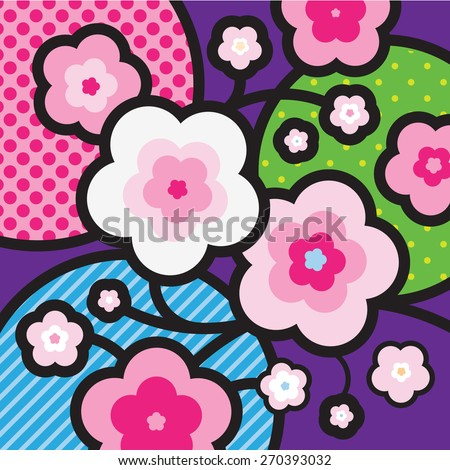 Sakura. Blossom tree. Cherry blossom. Japan. Modern Pop-art illustration for your design.  - stock vector