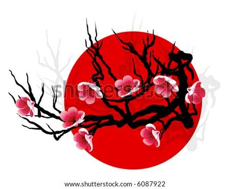 Sakura blossoms on tree silhouette over red sun - stock vector