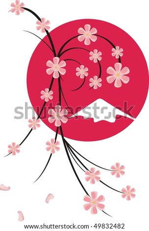 Sakura blossoms on tree silhouette over red sun end mount Fuji - stock vector
