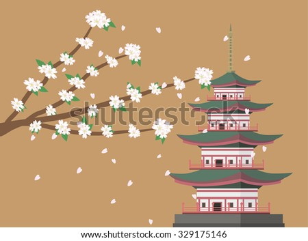 sakura cherry blossom branches with pagoda background vector - stock vector