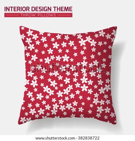 Sakura Cherry Decorative Throw Pillow design template. Original pattern is complete, masked. Modern interior design element. Vector design is layered. Vector is layered editable - stock vector