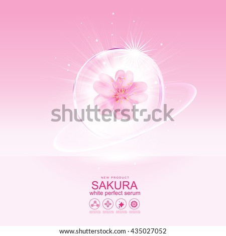 Sakura flower White Perfect Serum or Collagen Vitamin  and Background Vector Skin Care Cosmetic