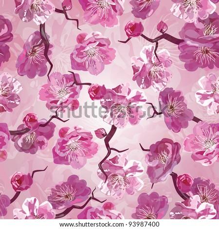 Sakura seamless pattern - stock vector