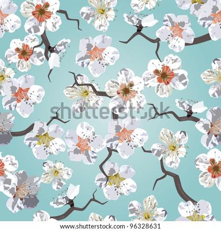 Sakura seamless pattern. EPS 10 vector illustration - stock vector