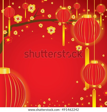 Sakura tree in blossom and red lamp in spring on red background.