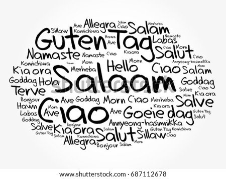 Salaam hello greeting persian farsi word cloud stock vector 2018 salaam hello greeting in persianfarsi word cloud in different languages of the m4hsunfo