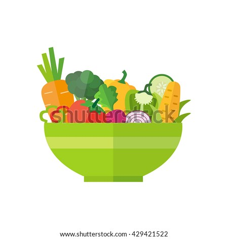 Salad bowl - healthy food, organic vegetables. Can be used for any printed or web graphic, for infographics to illustrate healthy lifestyle or vegan, vegetarian, raw diet. - stock vector