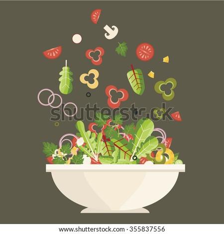 Salad plate. Ingredients. Vector illustration - stock vector
