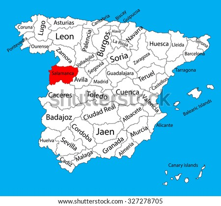 Salamanca Map Spain Province Vector Map Stock Photo Photo Vector