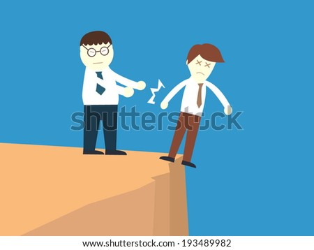 salary man was push by his friend and make him fall down : abuse concept - stock vector