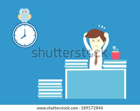 Salary man working overtime with a lot of paper - stock vector