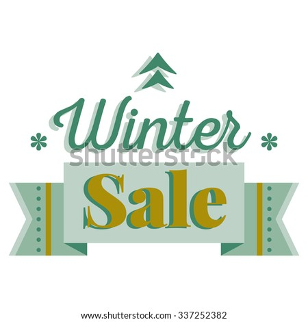 Sale and discount card, banner, flier. Winter sale title. Green pine tree icon, snowflakes, ribbon, hand drawn letters composition isolated on white background. Editable vector illustration template - stock vector