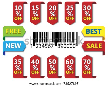 Sale and discount labels set for price list - stock vector