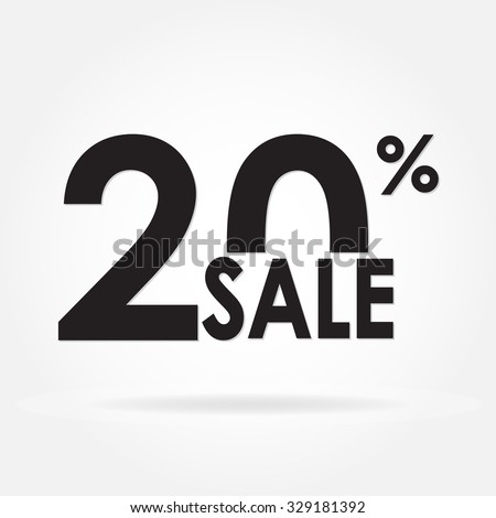 Sale 20% and discount price sign or icon. Sales design template. Shopping and low price symbol. Vector illustration. - stock vector