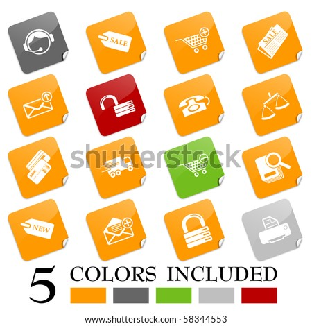 Sale and shopping icons - sticky series - stock vector