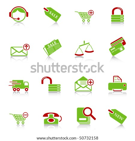 Sale and shopping icons with reflection, green-red series - stock vector