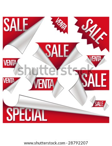 Sale and venta stickers, corner tabs, ribbons, and labels for use in advertising, print promotions, product packaging, and websites - stock vector