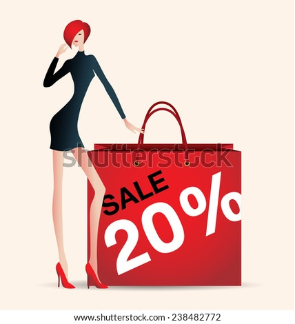 sale and woman shopping, vector illustration of fashion, red - stock vector