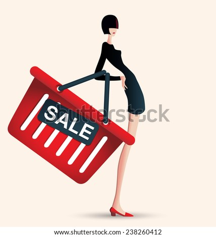sale and woman shopping, vector illustration of fashion, supermarket - stock vector