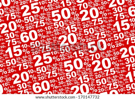 Sale Background - Various White Percentage Signs on Red Background - stock vector