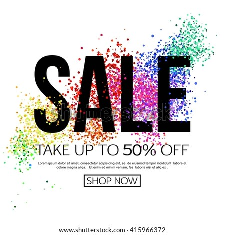 Sale background with colorful particles. Sale flyer, poster for shopping and marketing design. - stock vector