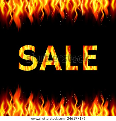 Sale background with flames. Vector illustration.  - stock vector