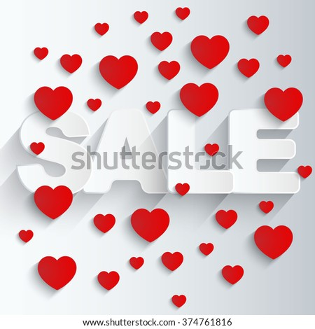 Sale background with red hearts. - stock vector