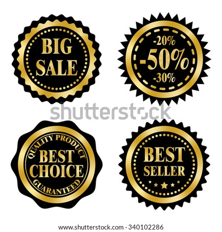 Sale badges, stickers, logo, stamps on Black Friday theme. Golden and black design.