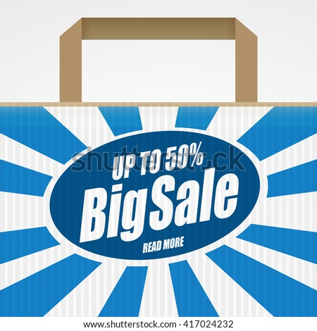 Sale banner and sale bag with text: Up to 50 percent. Decorated sale bag with Sale Speech bubble design - stock vector
