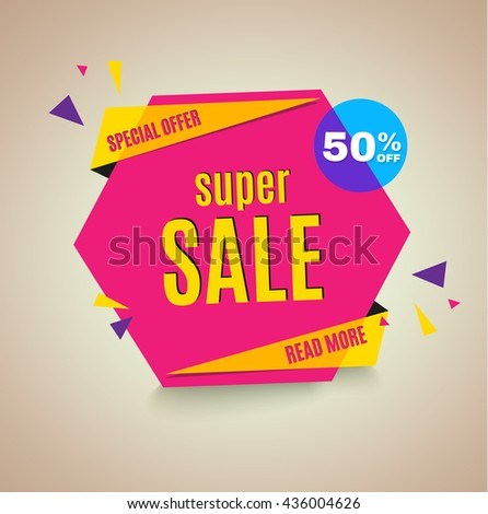 Sale banner. 50% off. Vector illustration.