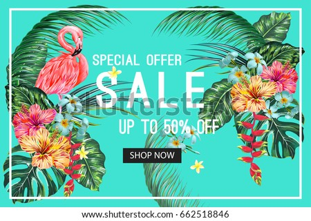 Sale banner, poster. Beautiful vector floral jungle summer background with pink flamingo, tropical flowers, palm leaves, hibiscus, bird of paradise flower